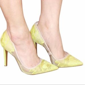 Jessica Simpson Camba Electric Yellow Lace Pumps